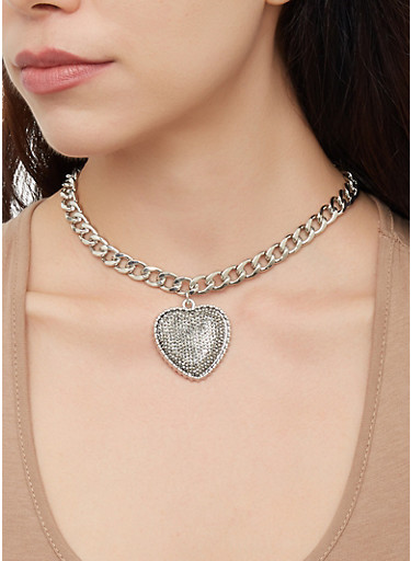 Curb Chain Necklaces and Bracelets with Stud Earrings,SILVER,large
