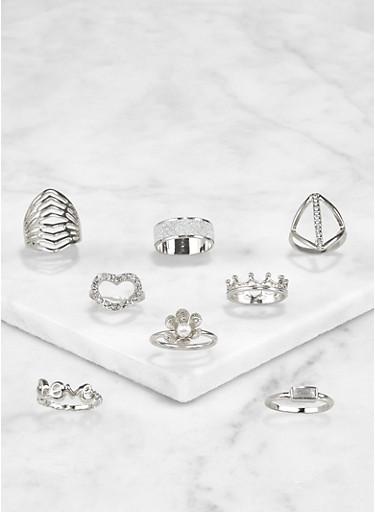Set of 8 Assorted Rhinestone Metallic Rings,SILVER,large