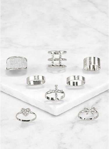Set of 8 Assorted Rhinestone Cross Rings,SILVER,large