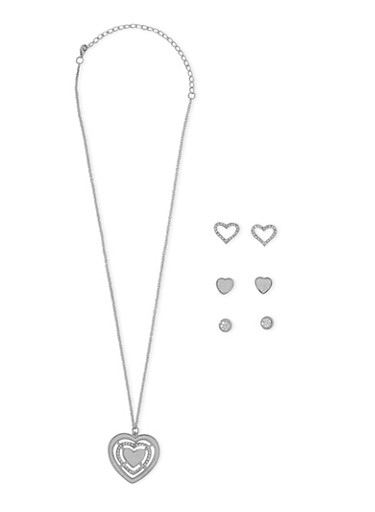 Glitter Heart Necklace and Stud Earrings,SILVER,large