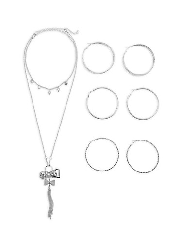 Charm Necklaces with Hoop Earrings Set,SILVER,large