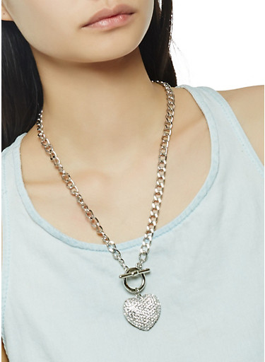 Rhinestone Heart Charm Necklace,SILVER,large
