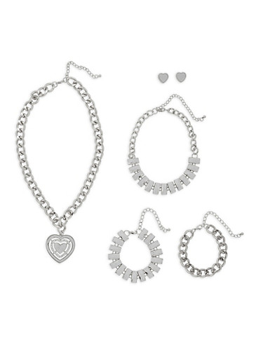 Heart Charm Necklace with Bracelet Trio and Earrings,SILVER,large