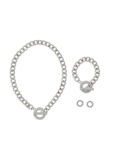 Toggle Chain Necklace with Bracelet and Stud Earrings,SILVER,large