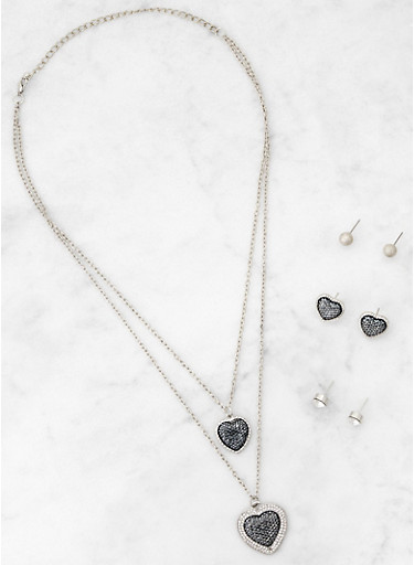 Heart Layered Necklace with Stud Earrings,SILVER,large