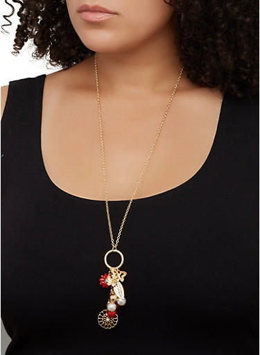 Flower Cluster Charm Necklace and Stud Earring Trio,GOLD,large