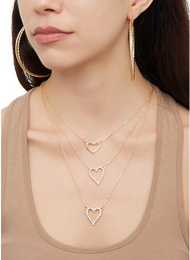 Hoop Earring Trio with Layered Necklace,GOLD,large
