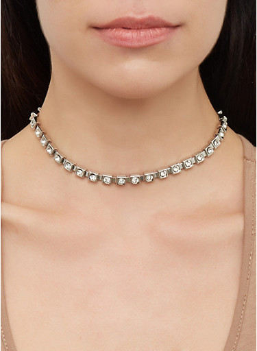Reversible Stud Earrings with Metallic Chokers,SILVER,large