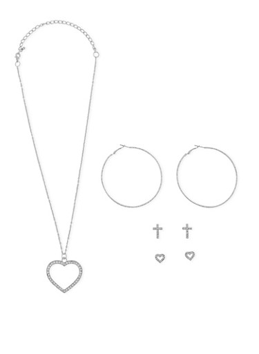 Heart Charm Necklace with Stud and Hoop Earrings Set,SILVER,large
