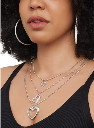 Metallic Hoop Earring Trio and Charm Necklace | 3123072699476,SILVER,large