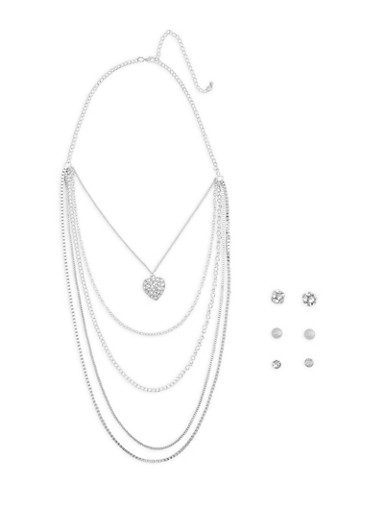 Layered Charm Necklace with Earring Trio,SILVER,large