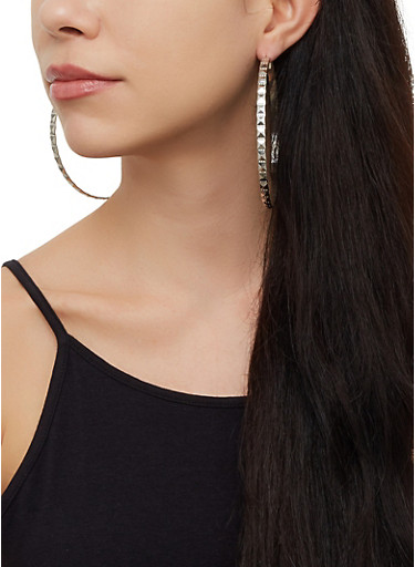 Oversized Textured Hoop Earring Trio,SILVER,large