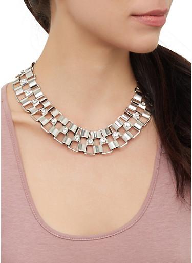 Rhinestone Metallic Necklace Cuff Bracelet and Hoop Earrings,SILVER,large