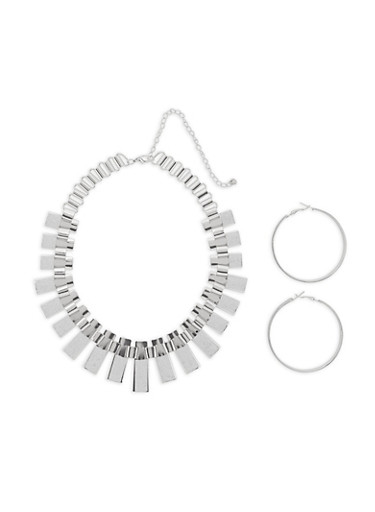 Glitter Metallic Stick Necklace with Hoop Earrings,SILVER,large
