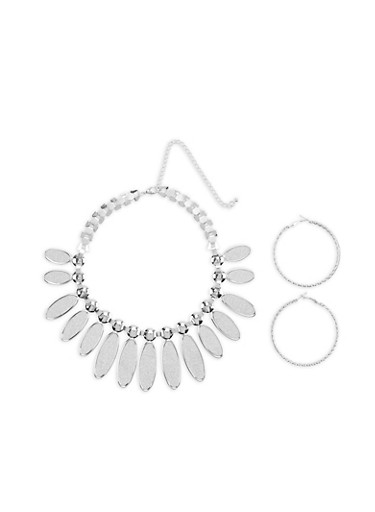 Glitter Statement Necklace with Hoop Earrings,SILVER,large
