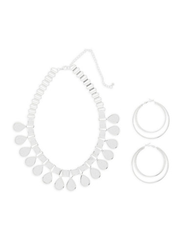 Glitter Collar Necklace with Hoop Earrings,SILVER,large