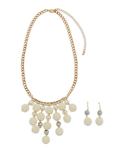 Faux Pearl Necklace and Matching Earrings Set,IVORY,large