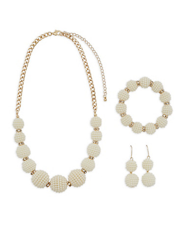 Faux Pearl Ball Necklace with Bracelet and Earrings,GOLD,large