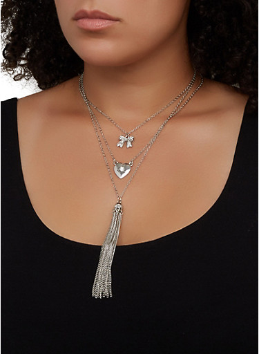 Layered Tassel Necklace and Stud Earring Trio,SILVER,large