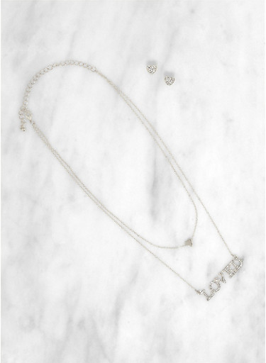Loved Layered Necklace with Heart Earrings,SILVER,large