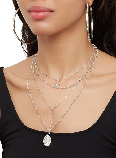 Layered Religious Necklace with Hoop Earring Trio,SILVER,large