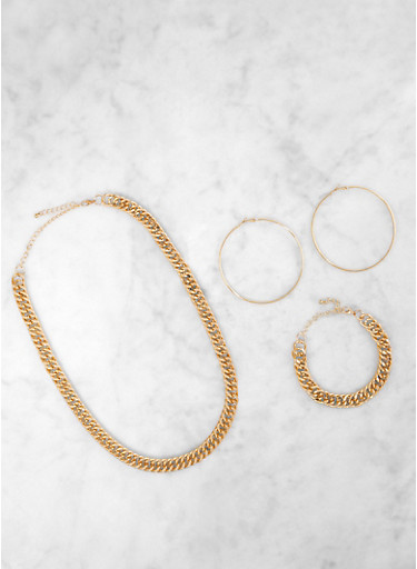 Chunky Chain Necklace and Bracelet with Hoop Earrings,GOLD,large