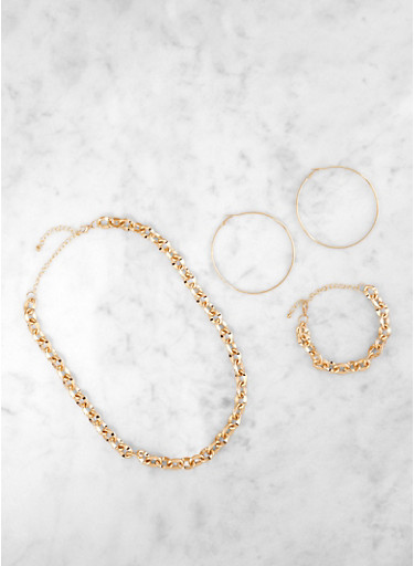 Chain Link Necklace and Bracelet with Hoop Earrings,GOLD,large