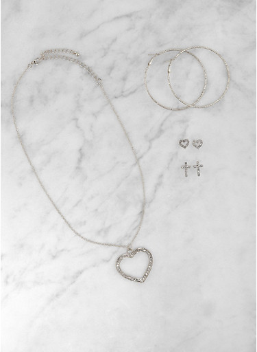 Rhinestone Heart Necklace and Assorted Earring Trio,SILVER,large
