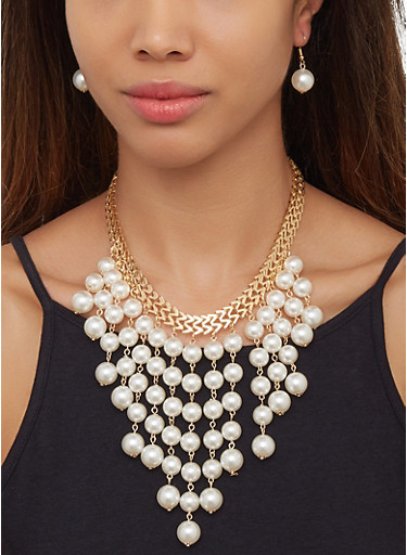 Faux Pearl Collar Necklace and Drop Earrings,GOLD,large