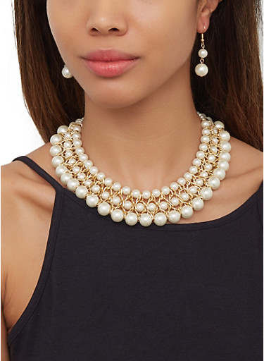 Woven Chain Faux Pearl Necklace and Drop Earrings,GOLD,large