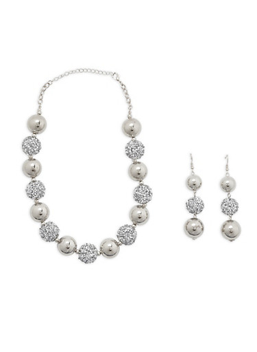 Rhinestone Encrusted Necklace and Earrings | Tuggl