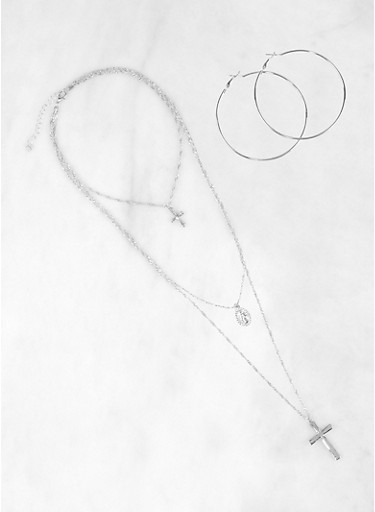 Layered Religious Necklace and Hoop Earrings Set,SILVER,large
