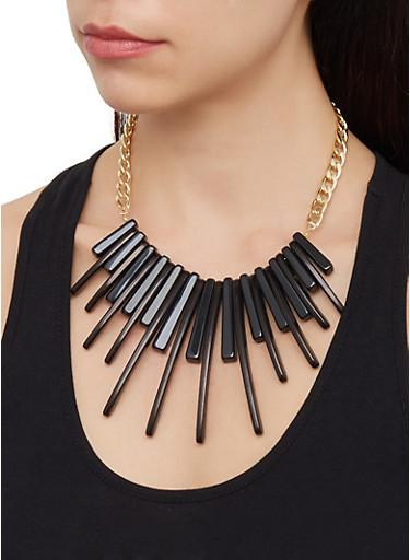 Stick Fringe Collar Necklace,BLACK,large