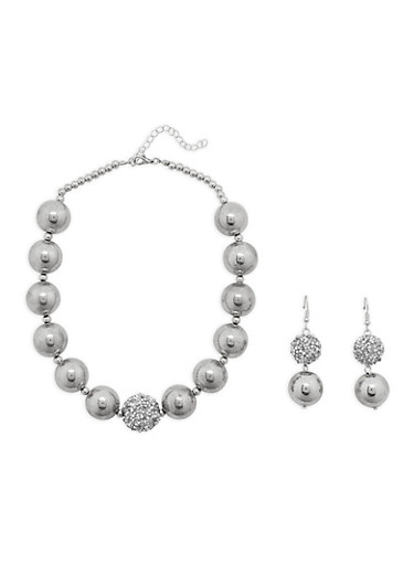 Large Beaded Necklace with Drop Earrings Set,SILVER,large