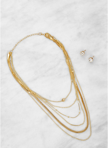 Layered Necklace with Rhinestone Stud Earrings,GOLD,large