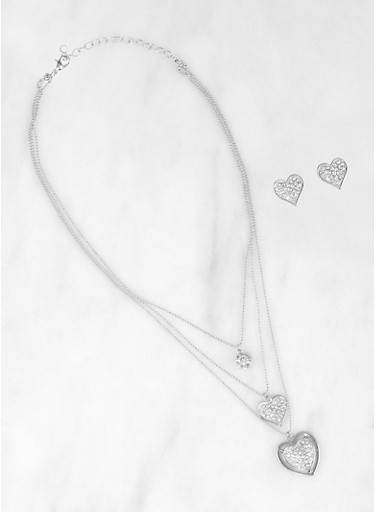 Heart Rhinestone Layered Necklace and Earrings,SILVER,large