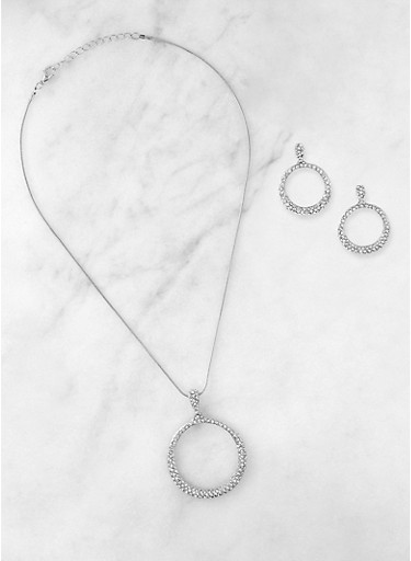 Rhinestone Circle Earrings and Necklace,SILVER,large
