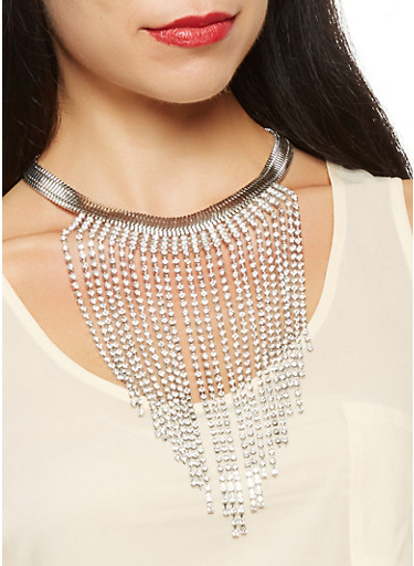 Rhinestone Fringe Necklace with Drop Earrings,SILVER,large