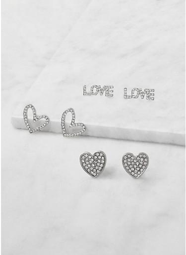 Love Rhinestone Stud Earring Trio | Tuggl