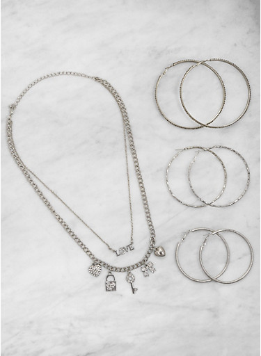 Love Charm Necklace with Hoop Earrings Trio,SILVER,large