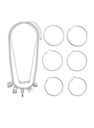 Rhinestone Chain Necklace with Hoop Earrings,SILVER,large