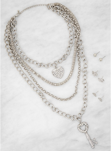 Layered Charm Chain Necklace with Earrings,SILVER,large