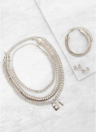 Metallic Necklaces with Bracelet and Earrings,SILVER,large