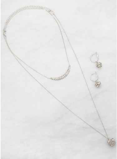 Rhinestone Ball Necklace and Hoop Earrings,SILVER,large