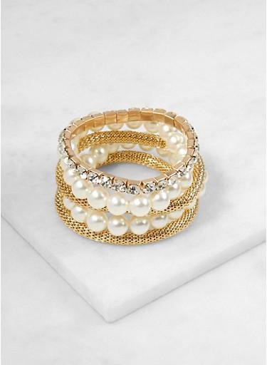 Set of 5 Faux Pearl and Rhinestone Stretch Bracelets,IVORY,large