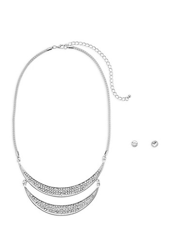 Rhinestone Crescent Necklace with Stud Earrings,SILVER,large