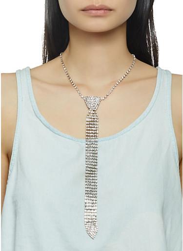 Rhinestone Tie Necklace,SILVER,large