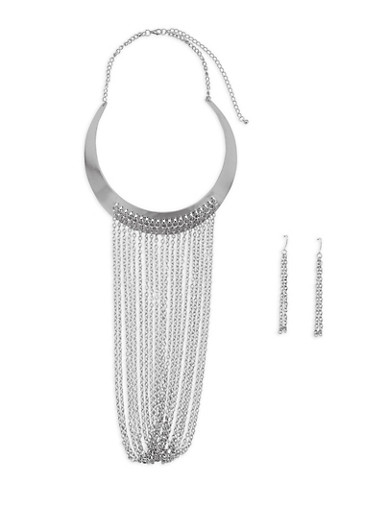 Chain Fringe Collar Necklace with Earrings,SILVER,large