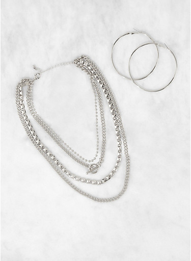 Metallic Chain Layered Necklace and Hoop Earrings,SILVER,large