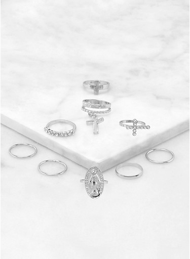 Religious Rings Set,SILVER,large